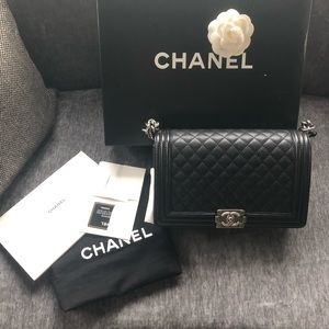 Chanel Le Boy New Medium Black Caviar RuT HW